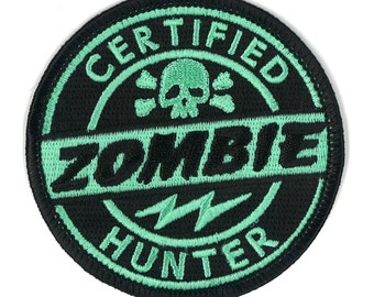 Certified Zombie Hunter VELCRO Patch - Apocalypse Apocalyptic Outbreak Response Team Hunting Permit  Horror PUNK