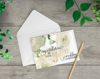 50th Anniversary card, Fiftieth wedding anniversary card, golden wedding anniversary gift, happy anniversary card to parents, TWO-GE258