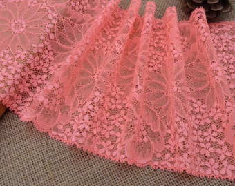 """On sale!!! 16.5 cm stretch lace 6.5"""" stretch lace Neon red Floral Stretch Lace Fabric DIY lace Trim Doll Dress"""