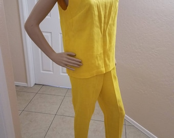 Vintage 1970's Bright Sunshine Yellow Rayon 2 PC Tank Top and Pants Set Open Back, Lace Trim