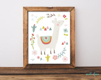 Llama Print Llama Wall Art Alpaca Print Whimsical Llama Decor Llama Gift Cactus Printable Instant Download Baby Shower Gift for Her