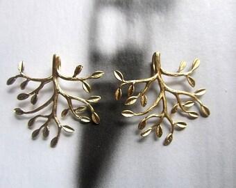 Golden Tree Pendant, Matte Gold Plated over Brass / 37mm x 35mm 2pcs