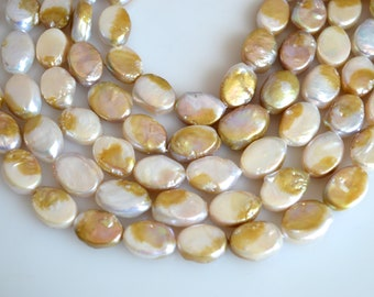 11x15mm AA Natural Color FreshwaterPearl Oval Coin Pearl Cultured Genuine Coin Pearl Natural Oval Pearl Beads #145