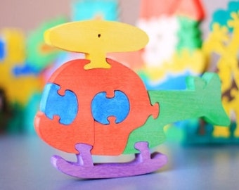 Special price listing 5 Wooden Puzzle Helicopter. Colorful  puzzle Handmade kids toy.