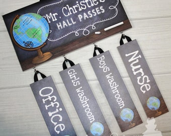 Teacher Chalkboard Classroom with World Globe HALL PASSES Teacher End of Year Christmas Present Gift HP0001
