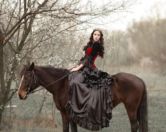 Velvet victorian style corset, vampire gothic costume, tight lacing, waist training, dark queen, victorian style dress