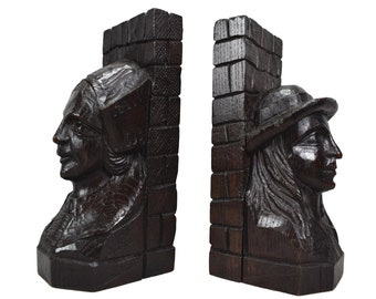 French Antique Hand Carved Oak Wood Bookends - Breton Couple Figural Book Ends - French Folk Art Carving - Bookcase Decor