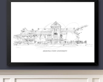 Arizona State University, Old Main Building, ASU Fine Art Print, Hand Drawn, Watercolor Paper, Signed Art ( Sizes  5 x 7 -  16 x 20)