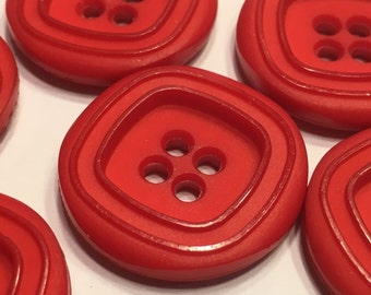 6 large red acrylic buttons, 28 mm (18)