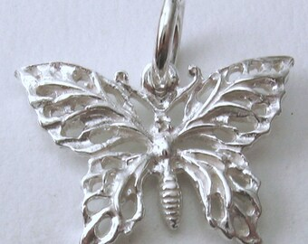 Genuine SOLID 925 STERLING SILVER 3D Filigree Butterfly charm/pendant