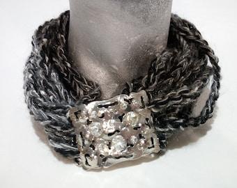 Neck, hand-made wool jewel band, neck warmer, handmade wool jewel bands