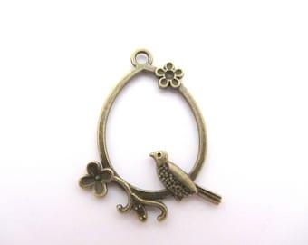 Large pendant, charm, bronze bird