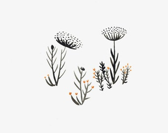 Floral Watercolor in Black and Orange