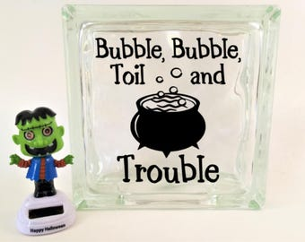 Halloween Decal, Bubble, Bubble, Toil and Trouble, Halloween Glass Block Decal, Halloween Craft, Wine Bottle Decal, Halloween Decor, Witch