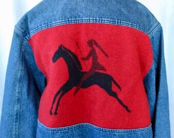 Pendleton Denim Jacket Vintage Wool Back Indian High Grade Western Wear Classic Man Large Petroglyph