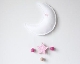 Moon and Star Baby Mobile, Crib Mobile, Nursery Decor, White and Pink