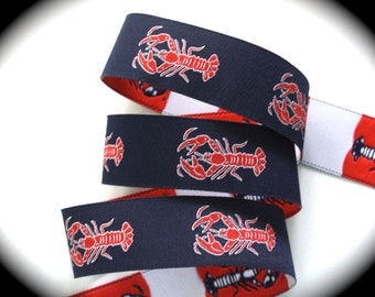 "Lobster Woven Ribbon -  1""   Navy, Red and White"