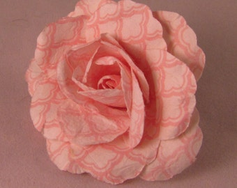 Large Rose Lapel Pin - Light Pink & White Pattern - Men's Accessories- Everyday/Weddings/Proms