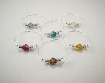 6 wine charms | Swarovski ® Crystal Elements wine glass charms | gift box | wine hostess gift - wine glass markers - unique wine gift SSC6-2