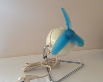 Vintage electric fan, blue and white fan from 60s, Vintage Lorenz LU 551 Fan, 3 blade desk fan, working fan, Vintage Fan