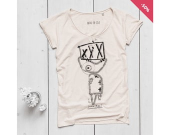 Woman Graphic Tee Oversize Vintage White Organic Slub Cotton - Printed T-shirt Fish