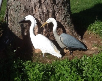 Blue or White Herring Bird Decoys Vintage 1988 Garden-Pond Decor