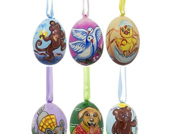 "3"" Set of 6- Dog, Bear, Cat, Monkey, Deer, Chic Wooden Christmas Ornaments"