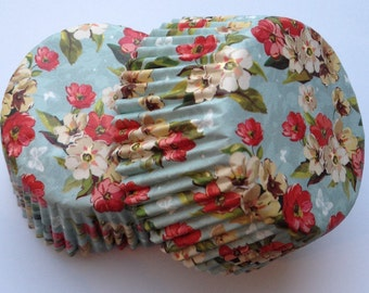 Reminisce Country Flower Floral Liners 50 count wedding tea party vintage red blue white green baking cups cupcake liners