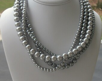 Silver Pearl Necklace, Gray Pearl Necklace, Chunky Necklace, Statement Necklace, Chunky Silver Necklace, Large, Shades of Gray, Peppered