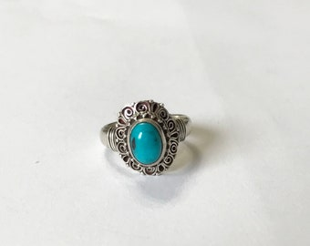 Sterling Silver Ring. Handmade Ring. Turquoise Ring
