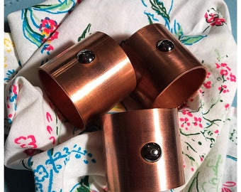 Copper Napkin Rings with Chrome Stud