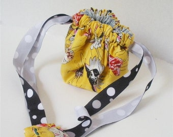 Crazy Cats on Yellow Posy Pouch