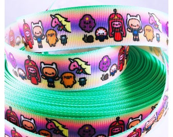 Adventure Time Ribbon, Grosgrain Ribbon, Hairbow, Scrapbooking, Sewing, Crafts, Cute Ribbon, Cartoon Ribbon, Craft Ribbon