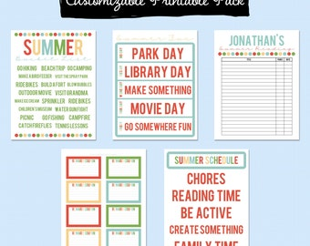 Summer Fun Printable Pack - Editable PDF
