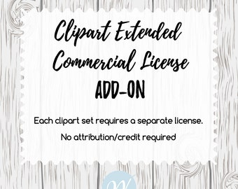 Clipart EXTENDED LICENSE Add-on, Premade Clipart, Graphic Design