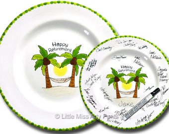 Free Shipping - Hand Painted Signature Plate - Happy Retirement Palm Tree - Retirement Gift - Happy Retirement - Guest Book plate
