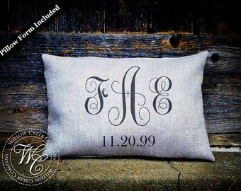 Vine Monogram Pillow, wedding date pillow, personalized pillow, wedding gift, burlap pillow, personalized wedding pillow, establish pillow