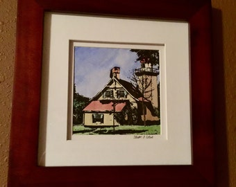 Door County Lighthouse Watercolor & Ink Painting