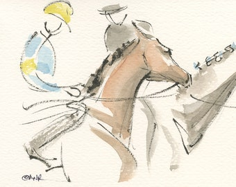 """Race Horse Painting, Equestrian Art, Original Watercolor by Anna Noelle Rockwell, """"Are You Ready?"""""""