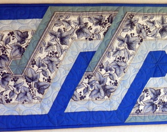 Table Runner for Sale, Quilted BLUE TABLE RUNNER, Patchwork Hand Made in America, Excellent gift for any occasion.