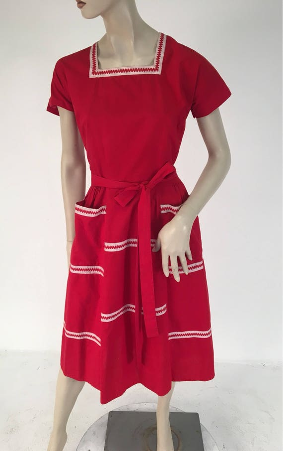 Vintage 1950s Red Cotton Wrap Dress by Swirl