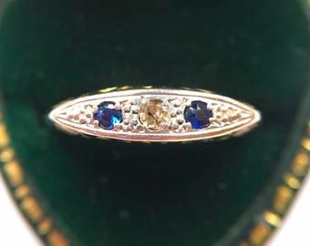 Dainty Art Deco Sapphire and Diamond Trilogy, set in 18ct & Platinum (Size L 1/2)