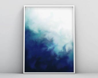 Modern Blue Poster, Dark Blue Abstract Print, Navy Blue Watercolour, Electric Blue Printable Modern Blue Printable Digital Download Wall Art