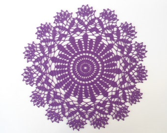 crochet Doily , purple , violet , round , 13 inches