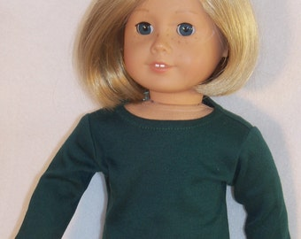 American Girl 18 inch Doll Long Sleeved Hunter Green Crew Neck Tee-Shirt