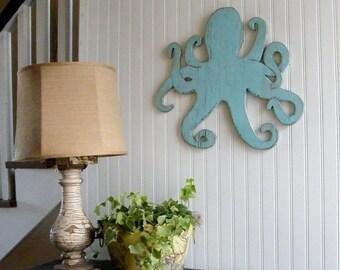Octopus Kunst Meer Leben Kraken im freien Zeichen Octopus Dekor Octopus Wand Art Strand Badezimmer Dekor nautischen Dekor Holz Octopus Strand Dekor