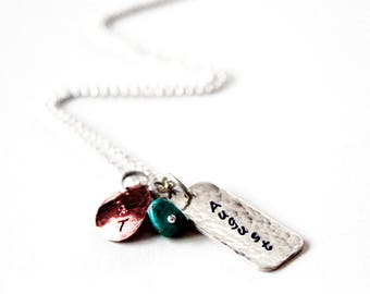 Mother's Necklace - Hand Stamped - Sterling Silver & Copper - Birthstones - Mothers Day Gift