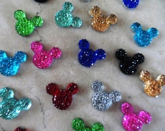 set of 15 appliques mickey Minnie 15 x 12 mm cabochons