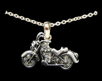 Motorcycle Rhinestone Necklace