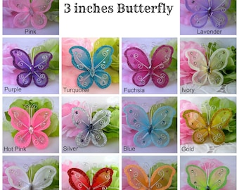 "3"" Nylon Butterfly Pink, Lavender, Fuchsia, Turquoise, Hot Pink, Purple, White for Baby Shower, Butterfly Party, Birthday Favors,  12 pieces"
